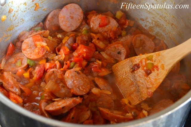 jambalaya with andouille sausage and shrimp
