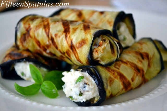 Grilled Eggplant Rolled with Ricotta and Basil – Fifteen Spatulas