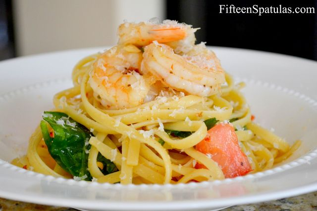 Linguine with Shrimp, Garlic, Baby Spinach, and Tomatoes – Fifteen ...