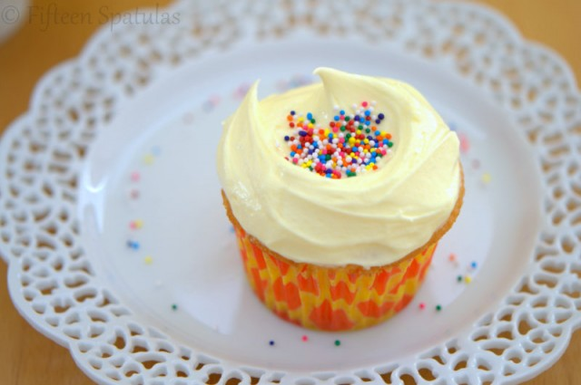 White Cupcakes with French Buttercream